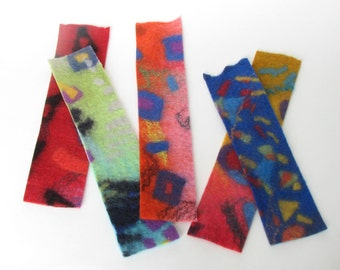 Bookmarks, five, hand felted.