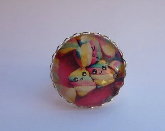 Adjustable ring cabochon 25mm mashmallows