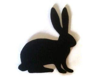 Rabbit Silhouette Iron On Patch - No Sew - Felt - You Pick the Color