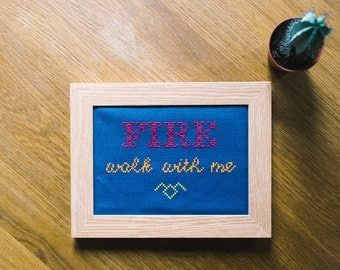 Fire walk with - Twin Peaks inspired cross-stitch