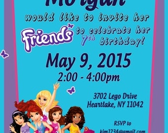 Personalized Customized LEGO FRIENDS Birthday Invitation