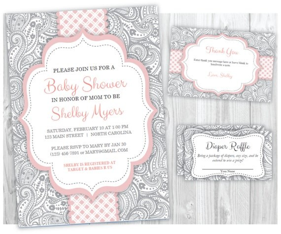 Pink and Gray Girl Baby Shower Invitation Thank You Card and Diaper