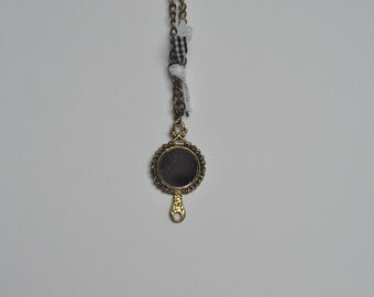 Mirror Reflection Bronze Colour Retro Pendant Necklace