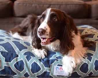 Gracie Dog Bed * Traditional Fretwork * Indigo * Aqua * Trellis * Teal * Navy * Small * Personalize * Custom Pillow * Cover *  TSD