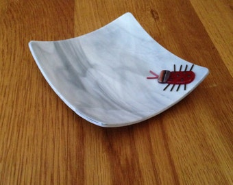 Gray Fused Glass Bug Plate, Stained Glass