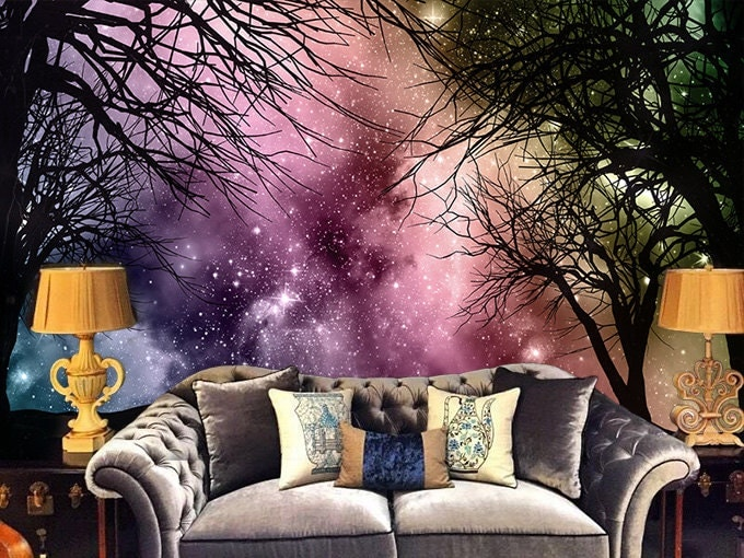 Galaxy Forest Removable Wallpaper Wall Decal Art Bedroom - Wall decals like wallpaper