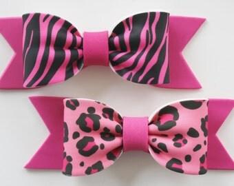 Gum Paste BOWS - 1  Pink Leopard/1 Pink Zebra
