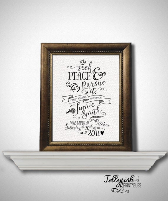 Items similar to modern calligraphy baptism print keepsake