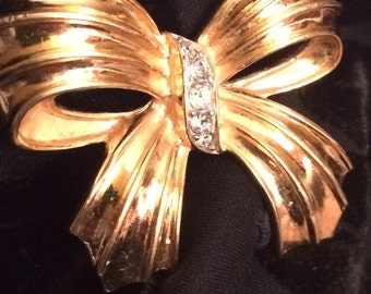 Vintage Golden Bow Cinched By Rhinestones