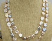 Coin Pearl Necklace -gold pearl necklace- pearl very good,smooth, - Coin Pearl- 13-14mm-petite Pearl Necklace-Pearl Jewelry,NPH1-033