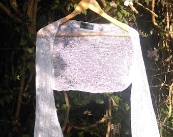 White wedding shrug / Hand crafted knit shrug / Wedding shawl
