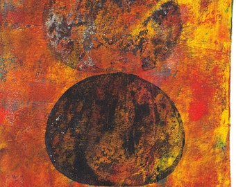 "orange black art ovals art ovals monoprint original art wall art original art  ""Duo 2"""