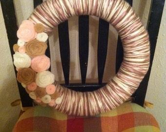 Yarn Wrapped Wreath Pink/Tan/Ivory