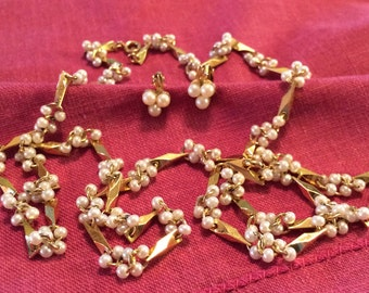 Vintage Seed Pearl Necklace and Clip Earring Set