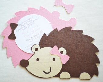 Hedgehog Baby Shower Invites - Hedgehog Birthday Invite - Cute Invites - Woodland Invite - Hootsie