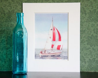 Sailing boat drawing - mounted print of original coloured pencil drawing