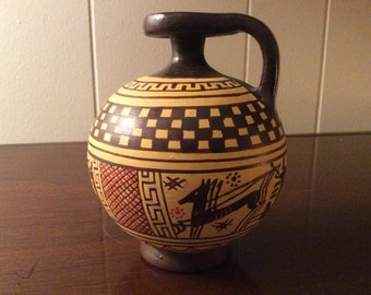 Collectible Greek water jug, Greek pottery; Museum copy of 8th century design; hand made in Santorini Greece; miniature Greek vase, vintage