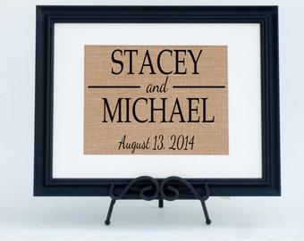 Framed Burlap Print Personalized Fabric Art Wall Decor - Rustic Wedding Decor - Wedding Sign (#1260FB)
