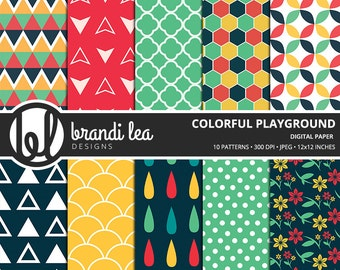 Colorful Playground Digital Paper - Digital Download - 300 DPI - 12x12 Inches - JPEG