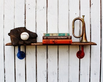 Reclaimed Wood Pipe Shelf, Reclaimed Wood Wall Shelf, Pipe Wall Shelf, Children's Wall Shelf, Kid's Room Shelf