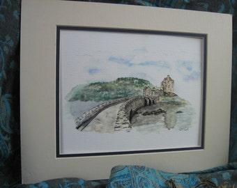 Eilean Donan Castle, Scotland Giclee Print of Watercolor