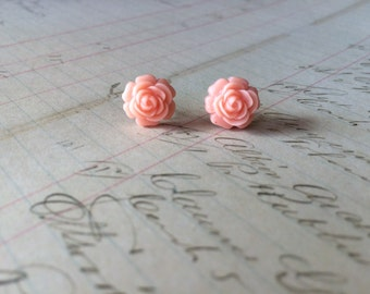 Pink Rose Post Earrings