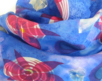 "Blue and pink flower silk scarf handpainted with leaves and circles for her 11"" x 43""  28cm x 109cm"