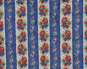 30's 40's vintage cotton fabric with great floral print. Blue red green white bold primary colors.