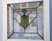 Cute Handmade Mission Design Stained Glass Window