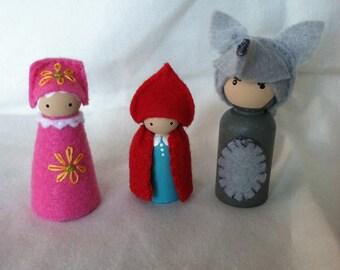 Red Riding Hood, Big Bad Wolf and Grandma peg dolls
