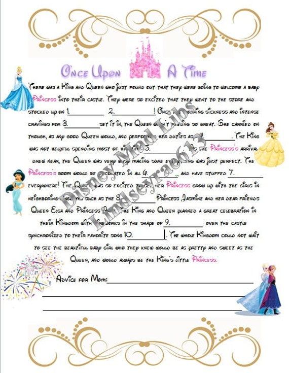 download disney princess baby shower mad libs baby shower game