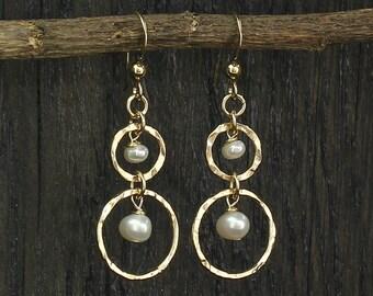 Gold Pearl Earrings, Graceful, Dangle Earrings, 14k Gold Filled, Hoops, Wedding, Bridal, Bridesmaids Gifts, Stera Jewelry X665
