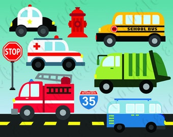 Cars Digital Clipart - Ambulance, Firetruck, Police Car, School Bus, Garbage Truck, 70s Van