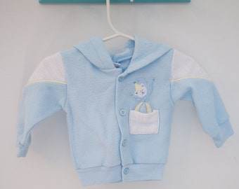 vintage baby clothes, baby boy light bue and light yellow jacket with teddy bear, 0-6 months