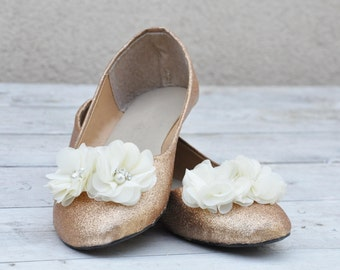 Ivory wedding shoes Glitter shoes Wedding shoes ivory Champagne ivory shoes low heels flat shoes custom shoes handmade shoes SIZE 7.5