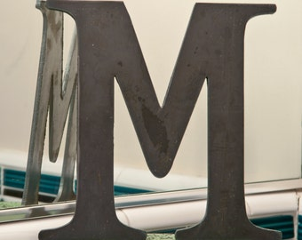 "Metal Letters M Sign 8x7.5"", modern Raw Metal, Recycled Welded Steel, CNC Plasma"