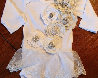 Couture Onesie with matching headband