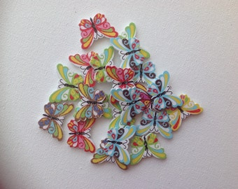 10 x colourful wooden butterfly buttons for crafts and Scrapbooking