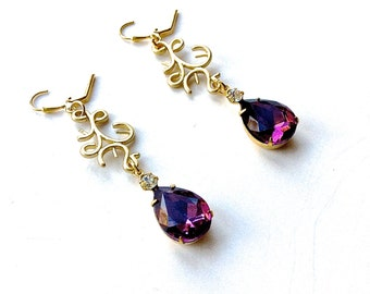 Long dangle romantic earrings, amethyst drops dressy earrings, lever back earring assembled jewelry, necklace to match