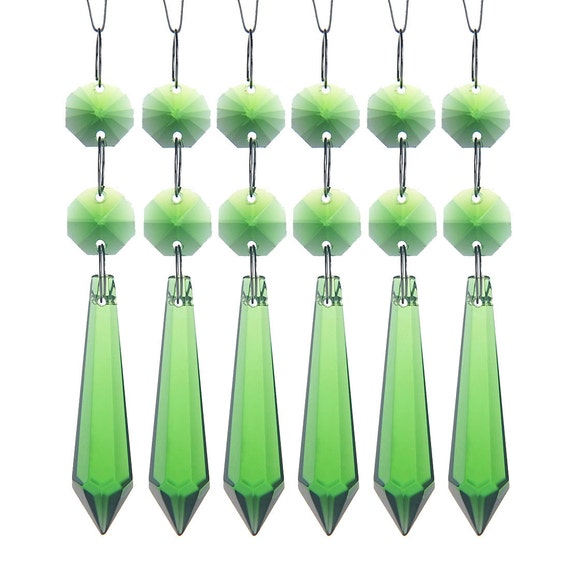 20pcs Green Chandelier Glass Crystals Lamp Prisms Parts