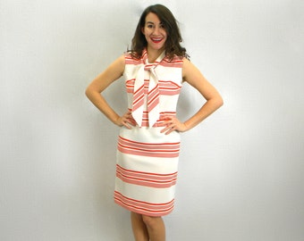 Vintage 60s Sleeveless Shift Dress | Red White Striped Dress | Bleeker Street