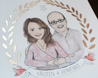 Custom Couple Portrait Illustration Gold Leaf Decorative Crest Art