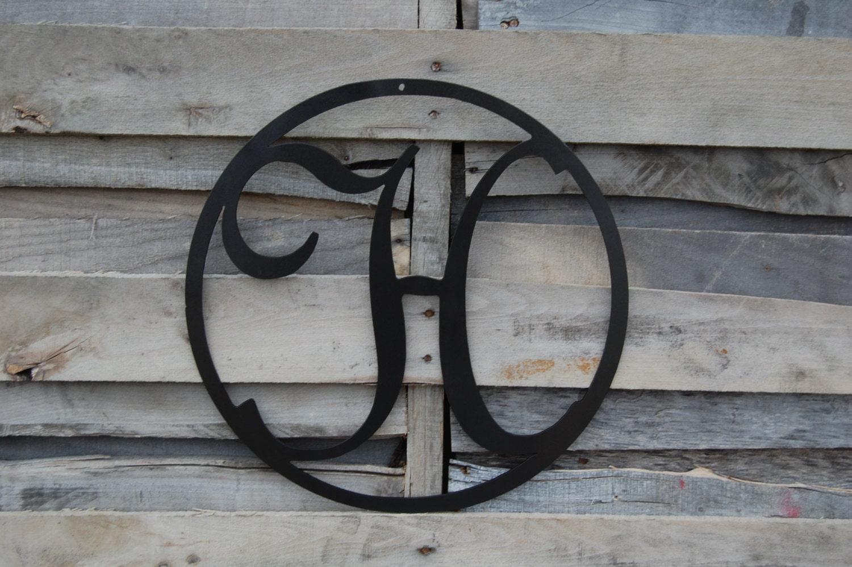 10 front door circle with monogram letter metal by for Metal letters for front door