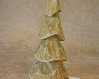 Hand Carved Wood Christmas Tree #167