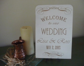 Wedding Welcome Sign, Wooden Wedding Plaque, Welcome to our Wedding Reception Sign, Custom Wedding Sign