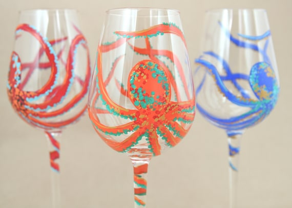 Octopus Hand Painted Wine Glass