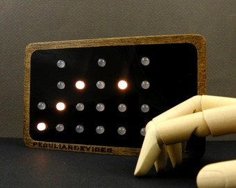 Binary Clock, 24-hour clock, WHITE LED, choose your front color, wooden clock