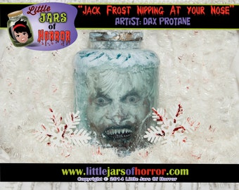 "Zombie Jack Frost - Head in Jar - Scary Creepy & Christmas Decor / Gift / Horror /Monster /Zombie ""Frosted"" Jar Motif"