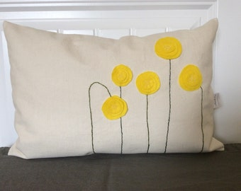 Yellow Spring Blossom Pillow Cover, Felt Flower  pillow , Canvas Pillow, Summer Decorative Cushion, Toss Pillow, Accent Pillow, sofa Pillow