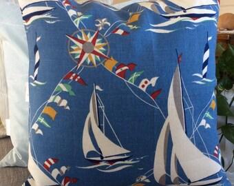 Blue Sail Boat Outdoor Pillow,  Maritime Sun Shade Throw,  Club Regatta